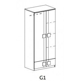 GIMMI, šatní skříň G1, dub santana/hnědá