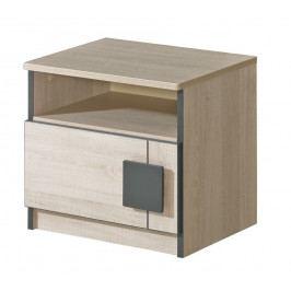 GIMMI, noční stolek G12, dub santana/červená