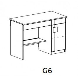 GIMMI, Psací stůl G6, dub santana/červená