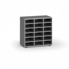 B2B Partner Třídící regál, 800 x 400 x 761 mm, 18 přihrádek, šedý