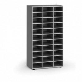 B2B Partner Třídící regál, 800 x 400 x 1497 mm, 36 přihrádek, šedý