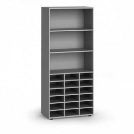 B2B Partner Třídící regál, 800 x 400 x 1865 mm, 18 přihrádek, šedý