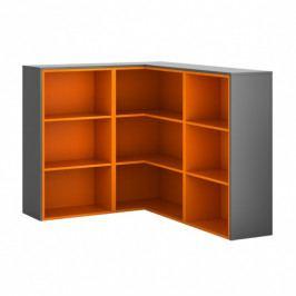 B2B Partner Skříňka rohová R02, levá, grafitová/oranžová