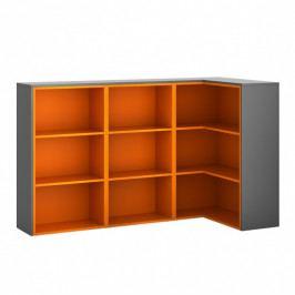 B2B Partner Skříňka rohová R03, levá, grafitová/oranžová