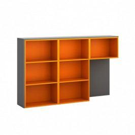 B2B Partner Skříňka ke stolu S01, levá, grafitová/oranžová