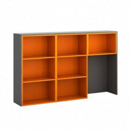 B2B Partner Skříňka ke stolu S04, levá, grafitová/oranžová