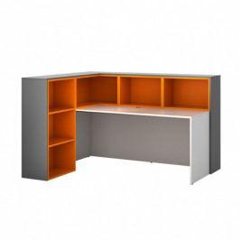 B2B Partner Sestava L02, levá, grafitová/oranžová/bílá