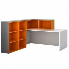 B2B Partner Sestava L03, levá, grafitová/oranžová/bílá