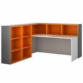B2B Partner Sestava L04, levá, grafitová/oranžová/bílá