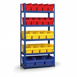 B2B Partner Regál s plastovými boxy 1800x900x400 mm, MDF police, boxy 10x A, 8x B, 3x C