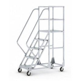 B2B Partner Pojízdný žebřík s plošinou – 4 stupně, 1 m