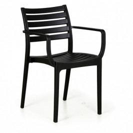 Plastová bistro židle SLENDER, černá, 3+1 ZDARMA