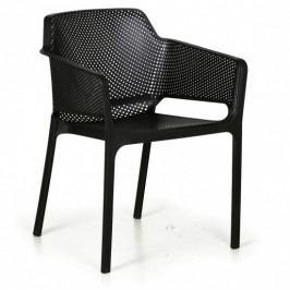 Plastová bistro židle RUSTIC, černá, 3+1 ZDARMA