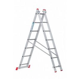 B2B Partner Hliníkový dvoudílný výsuvný víceúčelový žebřík, 2x7 příček