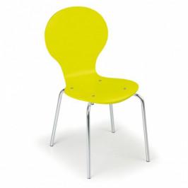 B2B Partner Dřevěná jídelní židle YELLOW, 4 ks, žlutá