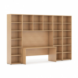B2B Partner Sestavy knihoven s integrovaným stolem, vyšší/širší, 3350 x 700/400 x 2300 mm, buk