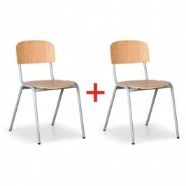 Dřevěná jídelní židle s kovovou konstrukcí, 1+1 ZDARMA