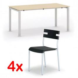 B2B Partner Jednací stůl AIR, bříza, 1600 x 800 mm + 4x židle LINDY ZDARMA, černá
