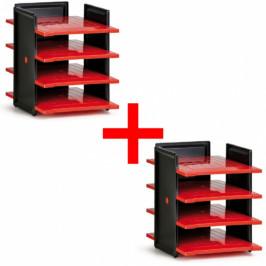 Plastový zásobník na dokumenty, černá/červená, 1+1 ZDARMA