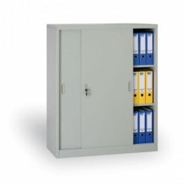 B2B Partner Kovová skříň s posuvnými dveřmi, 1200 x 1200 x 450 mm, světle šedá