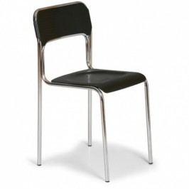 Plastová jídelní židle ASKA, černá - chromované nohy