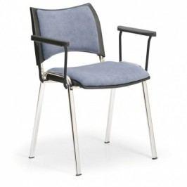Konferenční židle SMART - chromované nohy, s područkami, šedá