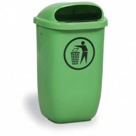 Venkovní odpadkový koš na sloupek DINO, světle zelený