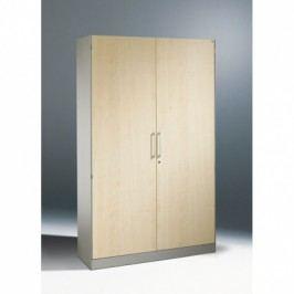 C+P Möbel Plechová skříň s dřevěnými dveřmi, 1980x800x435 mm