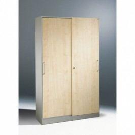 C+P Möbel Plechová skříň s dřevěnými posuvnými dveřmi, 1980x1000x435 mm