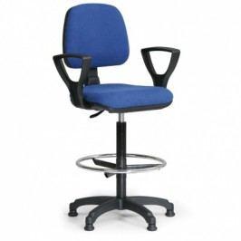 Zvýšená pracovní židle MILANO s područkami - modrá