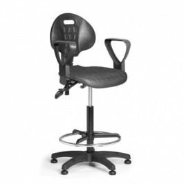 EUROSEAT Pracovní židlle PUR s područkami, asynchronní mechanika, kluzáky