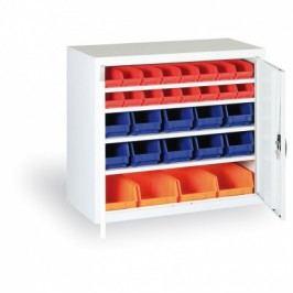 Skříň s plastovými boxy - 800x920x400 mm, 24xA, 6x B, 4x C