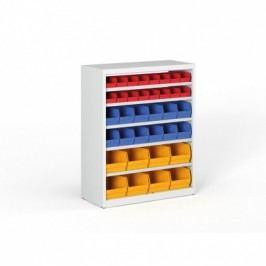 Regál s plastovými boxy - 1150x920x400 mm, 16x A, 12x B, 8x C