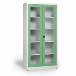 Alfa 3 Skříň s prosklenými dveřmi, 1950x920x400 mm, šedá/zelená
