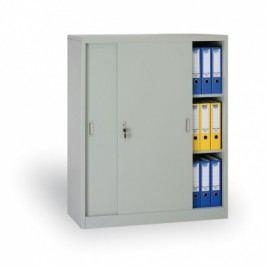 Kovová skříň s posuvnými dveřmi, 1200x1000x450 mm, světle šedá