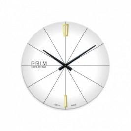 Skleněné nástěnné hodiny PRIM, bílé