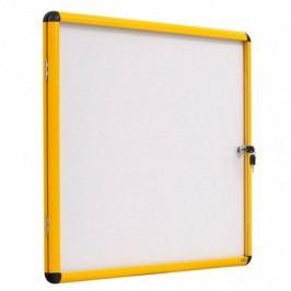 Bi-Office Vitrína s bílým magnetickým povrchem, žlutý rám, 500x674 mm (4xA4)