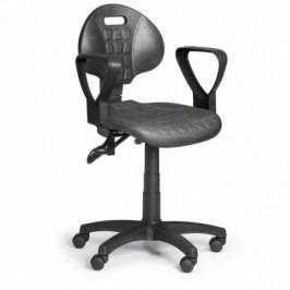 Pracovní židlle PUR s područkami, asynchronní mechanika, pro měkké podlahy