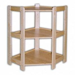Rohový dřevěný regál 3 police, 890x600x335 mm