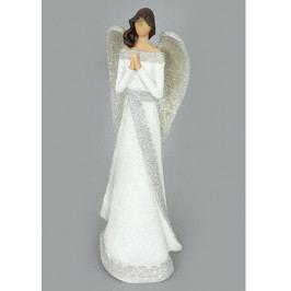 Autronic Anděl, polyresinová dekorace, barva bílo-stříbná s  glitry