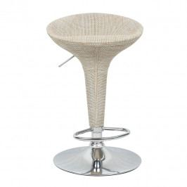 Tempo Kondela, s.r.o. Barová židle, ratan béžový / chrom, Turid