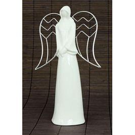 Autronic Anděl, porcelánová dekorace s kovovými křídly