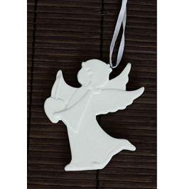 Autronic Anděl, porcelánová dekorace na zavěšení, barva bílá