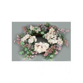 Autronic Věnec proutěný s umělými květinami,  jarní dekorace, barva růžová
