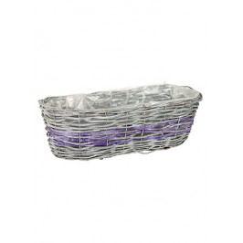 Proutěný truhlík oválný, šedo-fialová