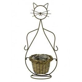 Obal proutěný s kovovým stojanem ve tvaru kočky