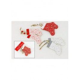 Dřevěná vánoční ponožka. Sada 2ks/1 polybag., mix barev bílá, šedá, červená