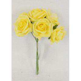 Růžičky pěnové, puget 6ks, barva žlutá