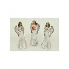 Anděl polyresinový, béžový s glitry, mix 3 tvarů