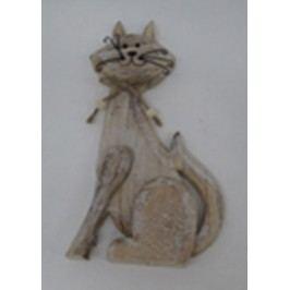 Kočka, dřevěná dekorace